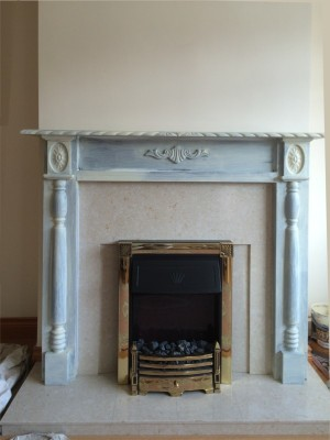 During Fireplace painting in a Dublin Home by Abhaile Decorators, Ireland