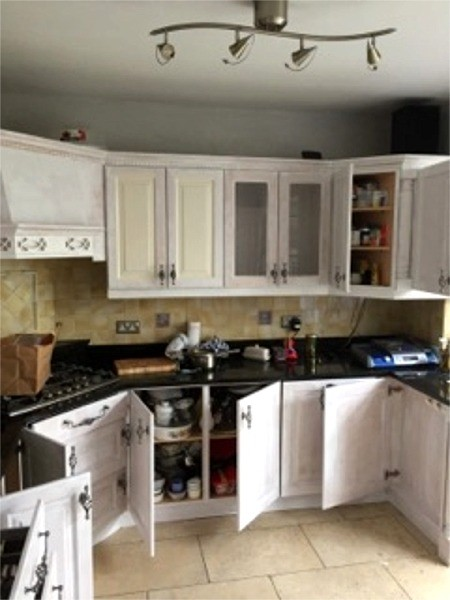 First coat applied on kitchen cupboards - Quality home decoration by Abhaile Decorators, Ireland