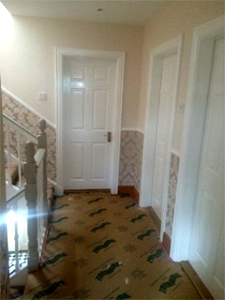 Wallpapering and painting a Stairway & Hallway, Dublin - Quality home decoration by Abhaile Decorators, Ireland