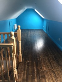 Internal House Painting in Dublin showing attic area painted blue with white ceiling by Abhaile Decorators, Ireland