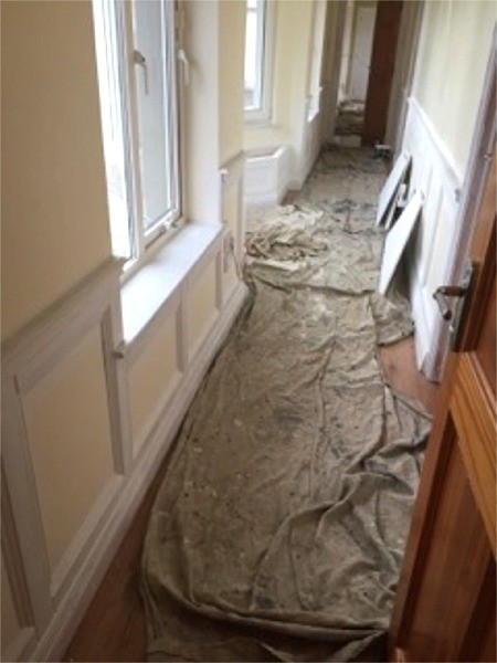 Preparation for the painting of a hallway in Dublin - Quality home decoration by Abhaile Decorators, Ireland