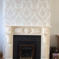 Wallpaper in Sitting Room with Fireplace, Dublin - Quality home decoration by Abhaile Decorators, Ireland