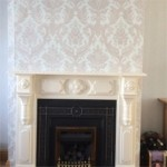 Wallpaper in Sitting Room with Fireplace